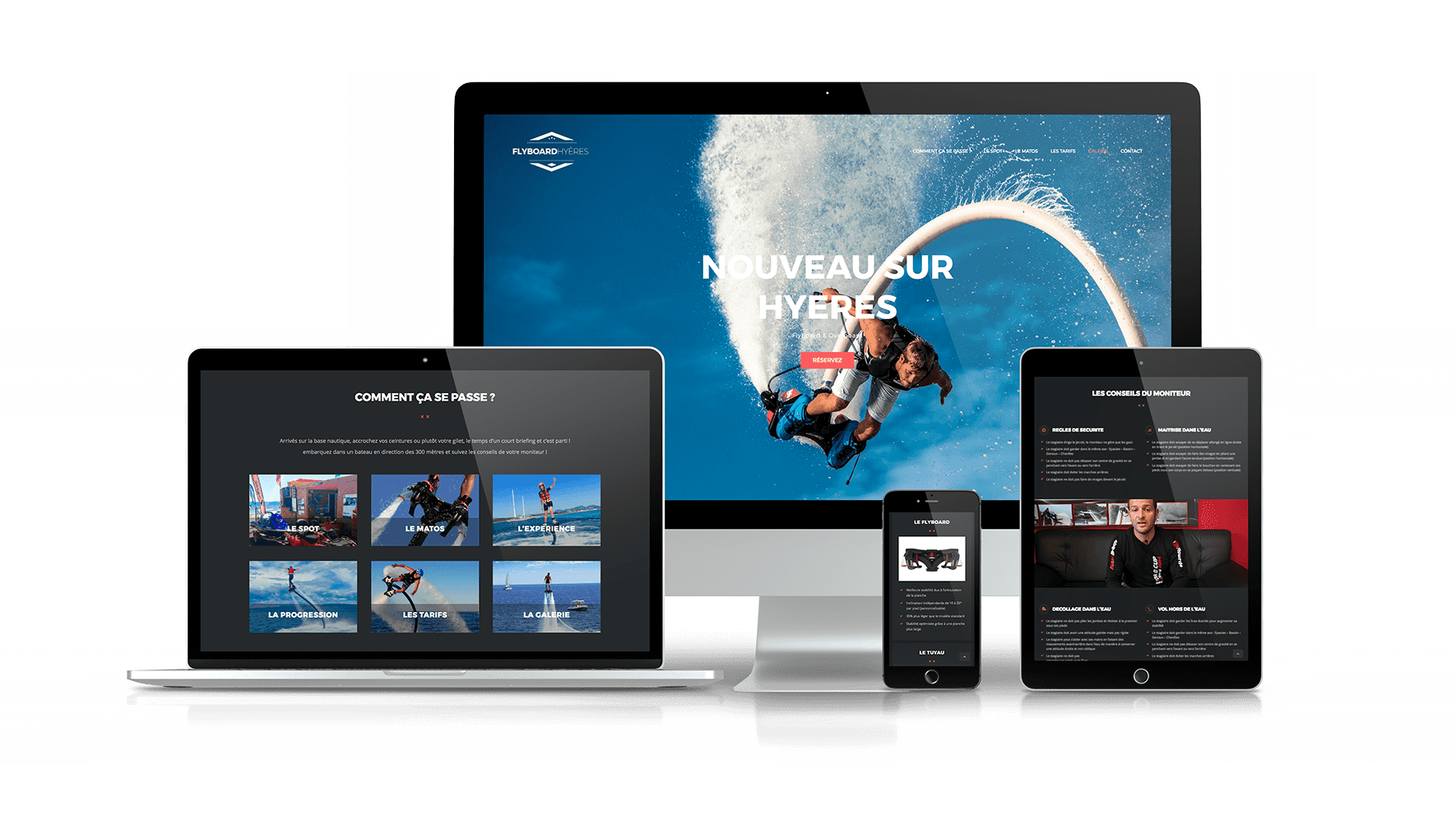 Site flyboard responsive (mobile tablette et ordinateur)